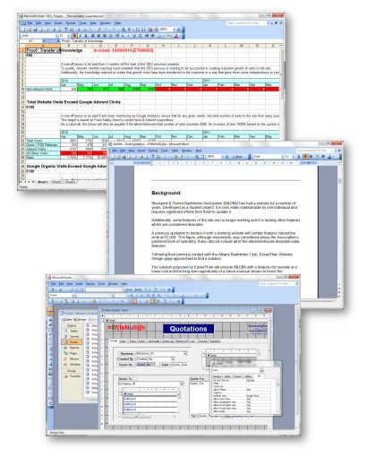 Screenshots - Microsoft Office Execl, Word and Access Support and Advice